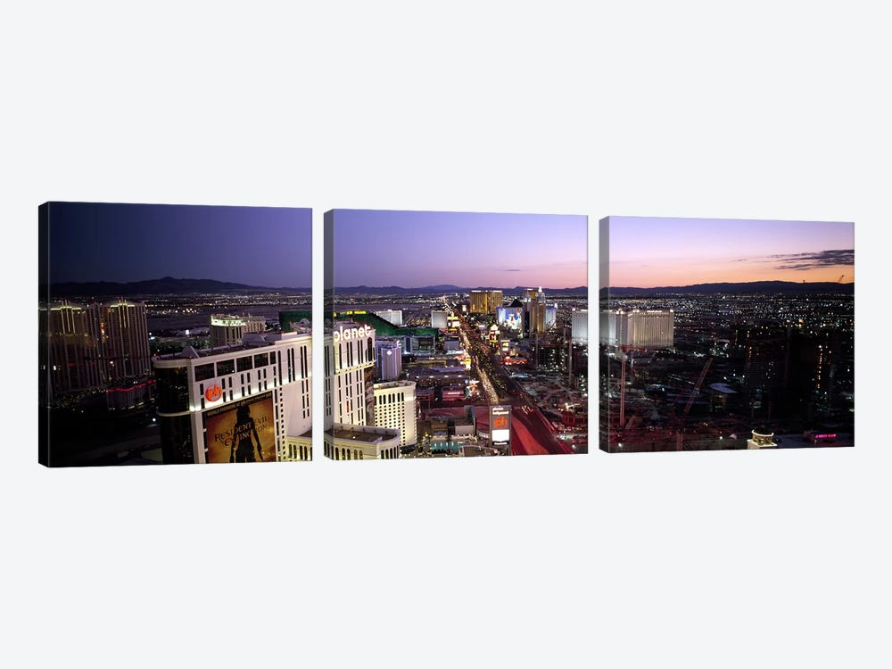 Aerial view of a cityParis Las Vegas, The Las Vegas Strip, Las Vegas, Nevada, USA by Panoramic Images 3-piece Canvas Wall Art