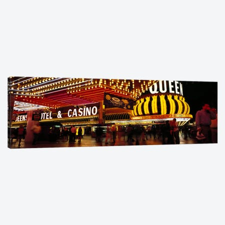 Casino lit up at night, Four Queens, Fremont Street, Las Vegas, Clark County, Nevada, USA Canvas Print #PIM6702} by Panoramic Images Canvas Print