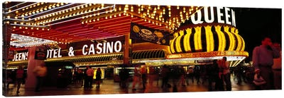 Casino lit up at night, Four Queens, Fremont Street, Las Vegas, Clark County, Nevada, USA Canvas Print #PIM6702