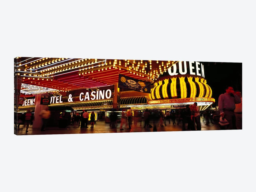 Casino lit up at night, Four Queens, Fremont Street, Las Vegas, Clark County, Nevada, USA by Panoramic Images 1-piece Canvas Print