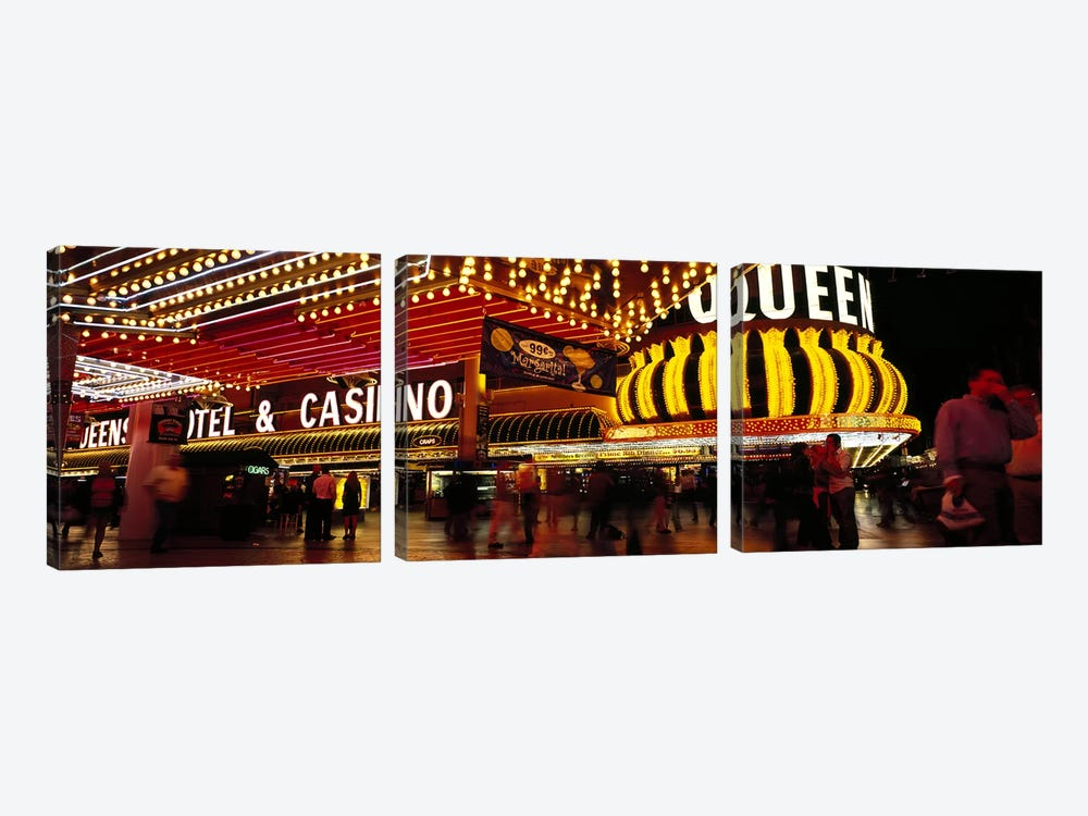 Casino lit up at night, Four Queens, Fremont Street, Las Vegas, Clark County, Nevada, USA by Panoramic Images 3-piece Canvas Print