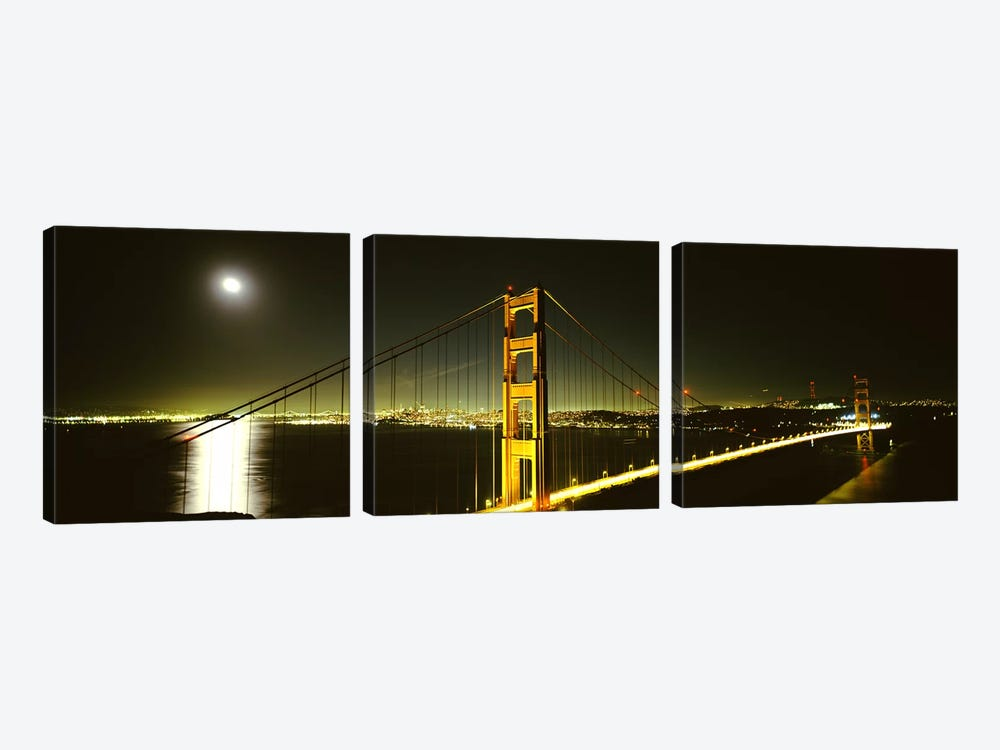 Suspension bridge across the sea, Golden Gate Bridge, San Francisco, California, USA #4 by Panoramic Images 3-piece Canvas Art Print