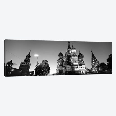 Low angle view of a cathedral, St. Basil's Cathedral, Red Square, Moscow, Russia (black & white) Canvas Print #PIM6716BW} by Panoramic Images Canvas Wall Art
