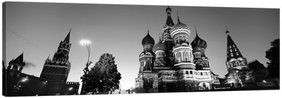 Low angle view of a cathedral, St. Basil's Cathedral, Red Square, Moscow, Russia (black & white) Canvas Art Print