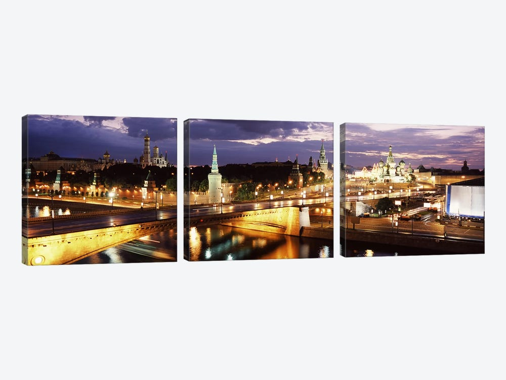 Nighttime View Of Red Square And Surrounding Architecture, Moscow, Russia by Panoramic Images 3-piece Canvas Art