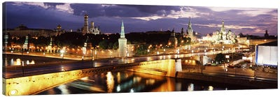 Nighttime View Of Red Square And Surrounding Architecture, Moscow, Russia Canvas Art Print