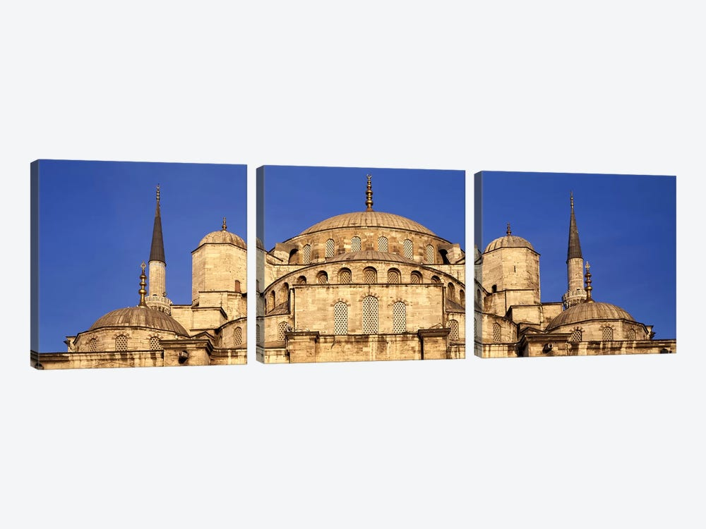 Low angle view of a mosque, Blue Mosque, Istanbul, Turkey by Panoramic Images 3-piece Canvas Print