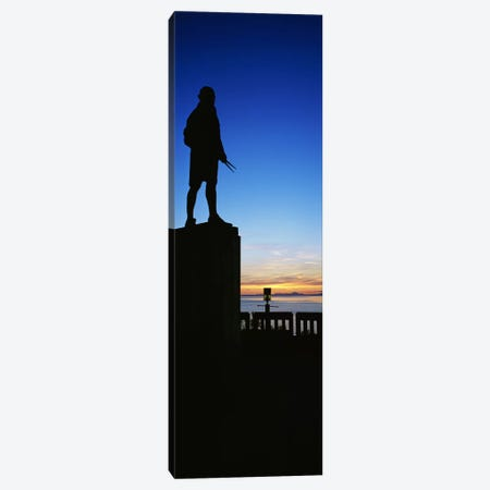 Captain Cook monument silhouetted by sunset, Anchorage, Alaska, USA. Canvas Print #PIM6725} by Panoramic Images Canvas Artwork
