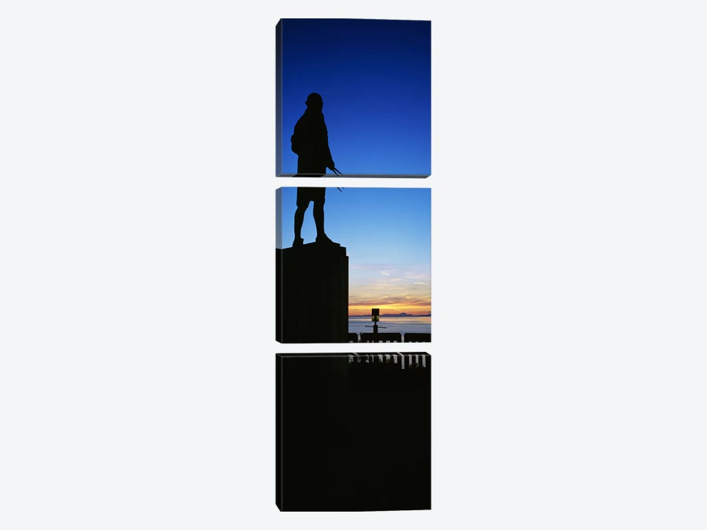 Captain Cook monument silhouetted by sunset, Anchorage, Alaska, USA. by Panoramic Images 3-piece Canvas Artwork