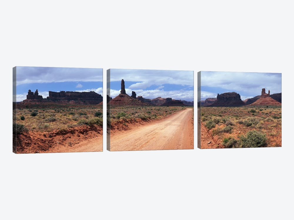 View From Scenic Loop, Valley Of The Gods, Bears Ears National Monument, San Juan County, Utah by Panoramic Images 3-piece Canvas Art Print
