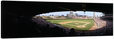 High angle view of a baseball stadium, Wrigley Field, Chicago, Illinois, USA Canvas Art Print