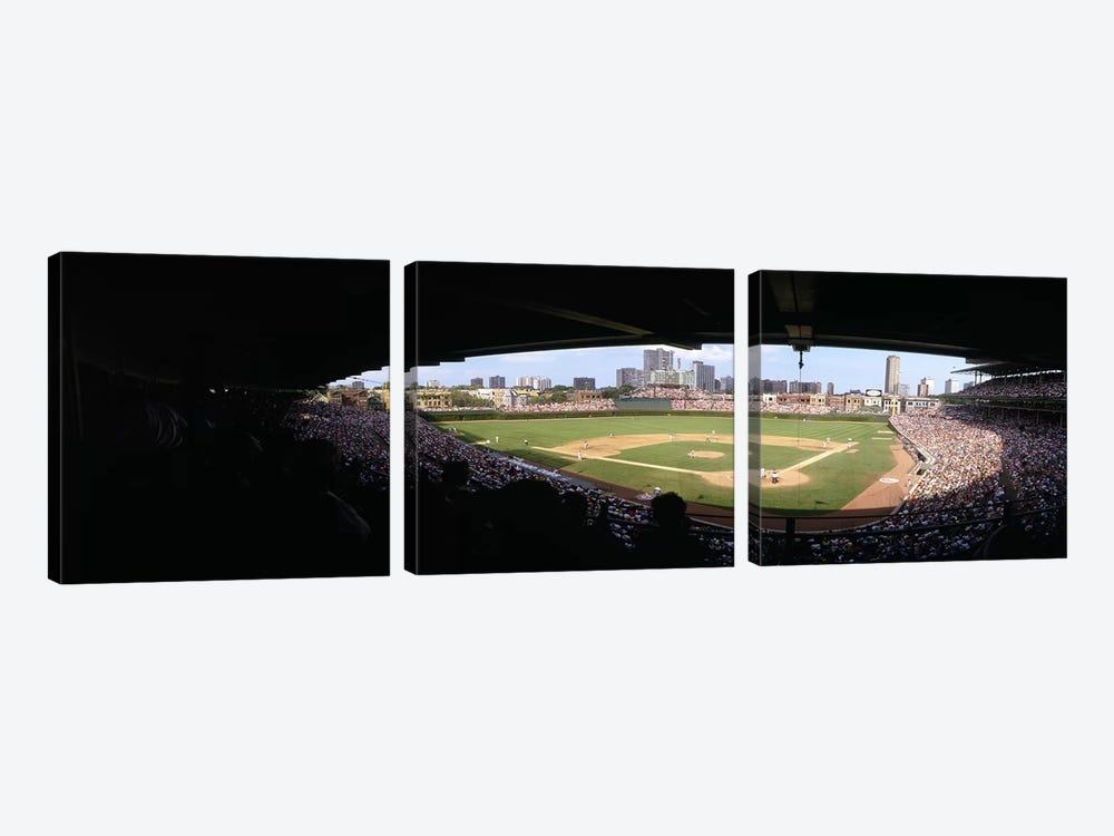 High angle view of a baseball stadium, Wrigley Field, Chicago, Illinois, USA by Panoramic Images 3-piece Canvas Art Print
