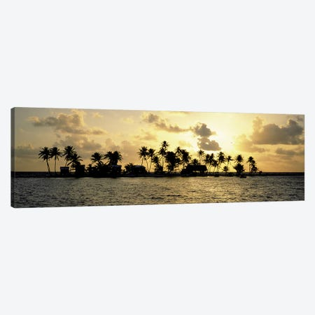 Cloudy Tropical Sunset, Laughing Bird Caye, Stann Creek District, Belize 3-Piece Canvas #PIM6744} by Panoramic Images Canvas Art