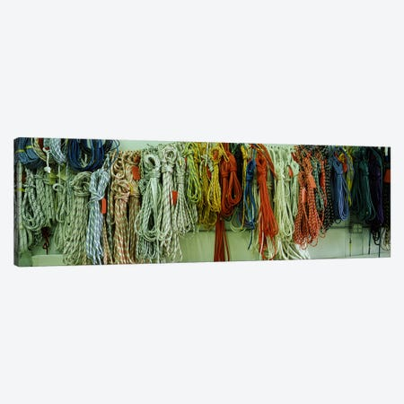 Colorful braided ropes for sailing in a store Canvas Print #PIM6749} by Panoramic Images Art Print
