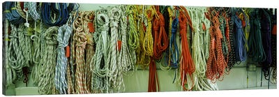 Colorful braided ropes for sailing in a store Canvas Print #PIM6749