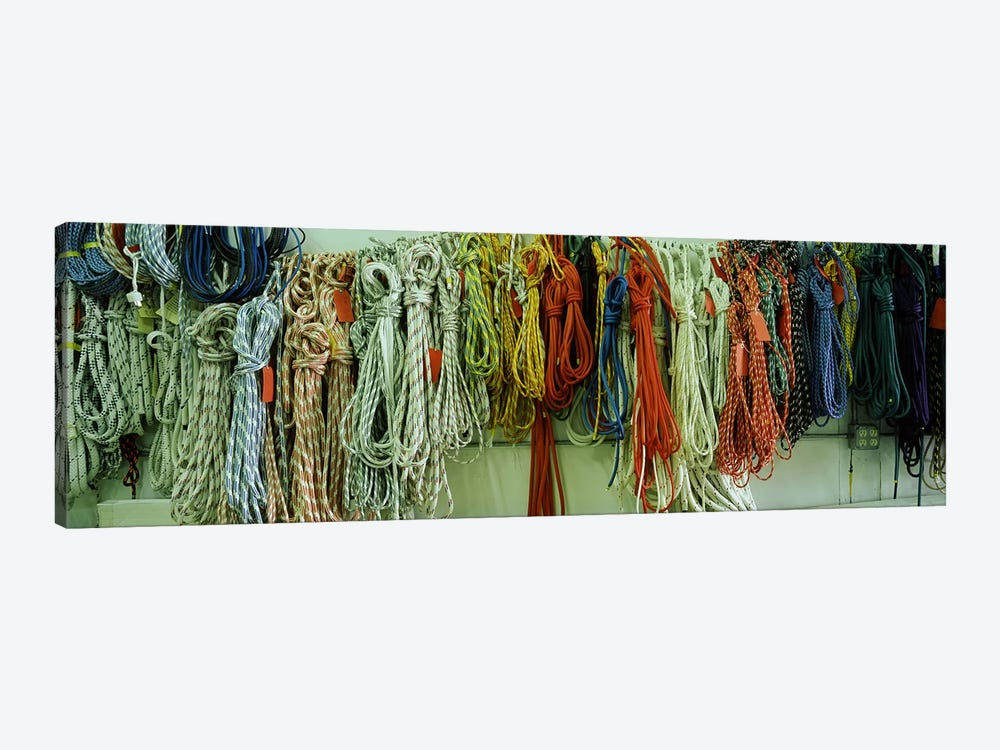 Colorful braided ropes for sailing in a store by Panoramic Images 1-piece Canvas Art
