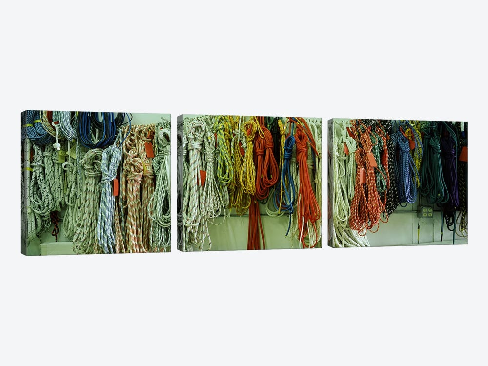 Colorful braided ropes for sailing in a store by Panoramic Images 3-piece Canvas Art