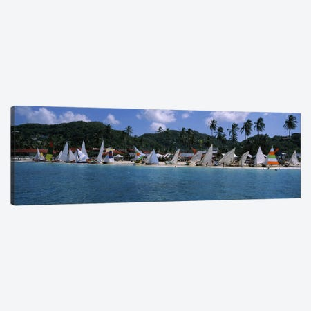 Landed Work Boats During The Grenada Sailing Festival, Grand Anse Beach, St. George Parish, Grenada Canvas Print #PIM6755} by Panoramic Images Canvas Art Print