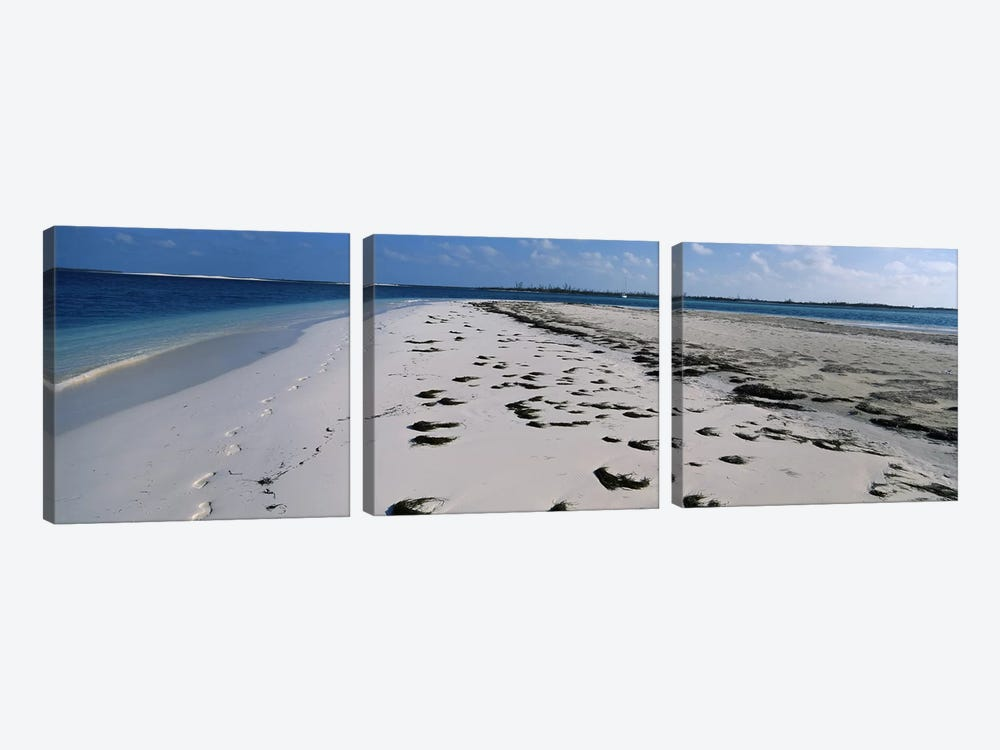 Footprints on the beach, Cienfuegos, Cienfuegos Province, Cuba by Panoramic Images 3-piece Canvas Art Print
