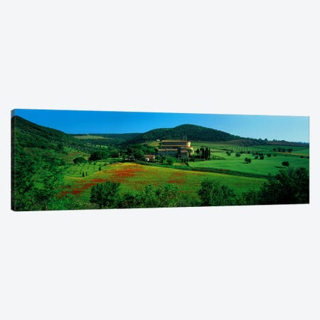 High angle view of a church on a field, Abbazia di Sant'Antimo, Montalcino, Tuscany, Italy Canvas Print #PIM6764} by Panoramic Images Canvas Artwork