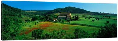 High angle view of a church on a field, Abbazia di Sant'Antimo, Montalcino, Tuscany, Italy Canvas Art Print
