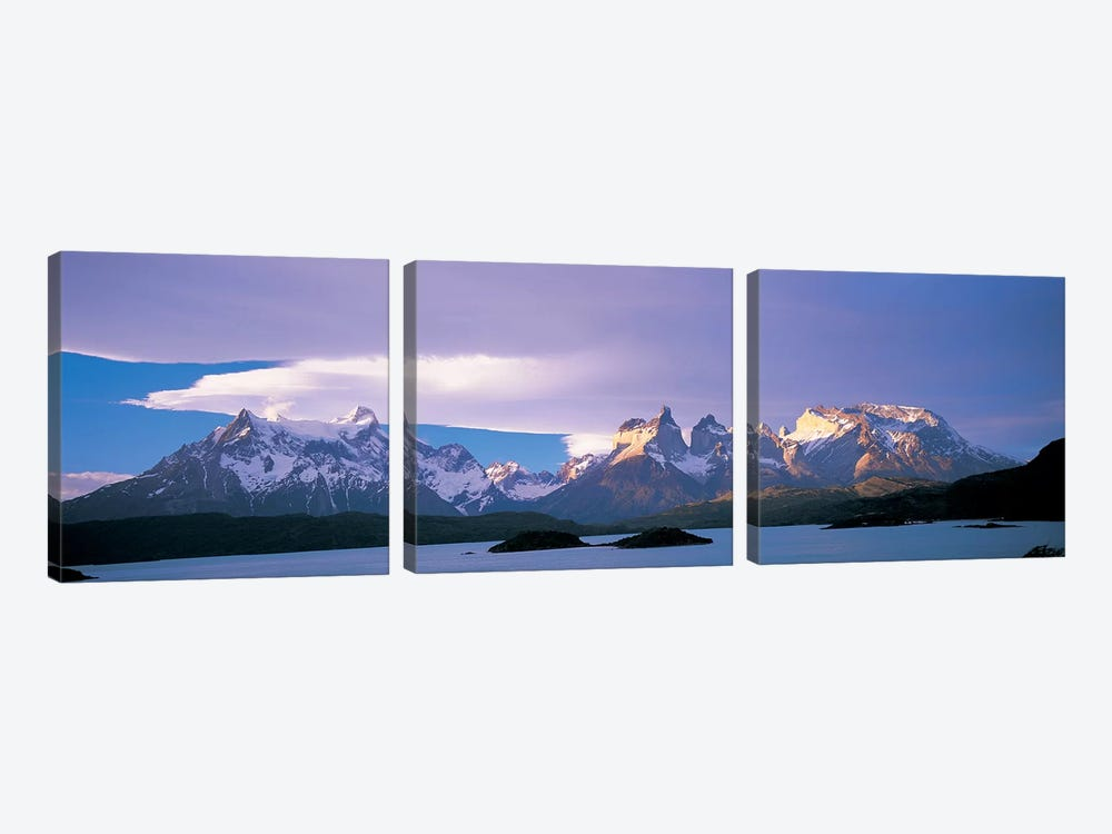 Clouds Over Cordillera del Paine, Torres del Paine National Park, Patagonia, Chile 3-piece Canvas Print