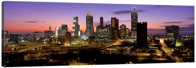 Skyline At Dusk, Cityscape, Skyline, City, Atlanta, Georgia, USA Canvas Art Print