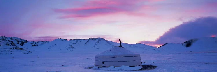 Yurt The Traditional Mongolian Yurt On A Frozen Lake Independ Icanvas