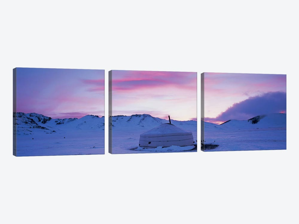 Yurt the traditional Mongolian yurt on a frozen lake, Independent Mongolia by Panoramic Images 3-piece Canvas Artwork