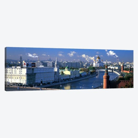 Buildings at the waterfront, Moskva River, Moscow, Russia Canvas Print #PIM6773} by Panoramic Images Canvas Artwork