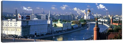 Buildings at the waterfront, Moskva River, Moscow, Russia Canvas Art Print