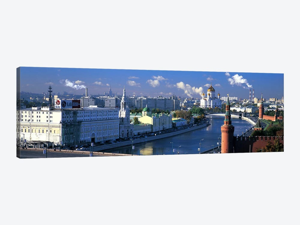 Buildings at the waterfront, Moskva River, Moscow, Russia by Panoramic Images 1-piece Canvas Art Print