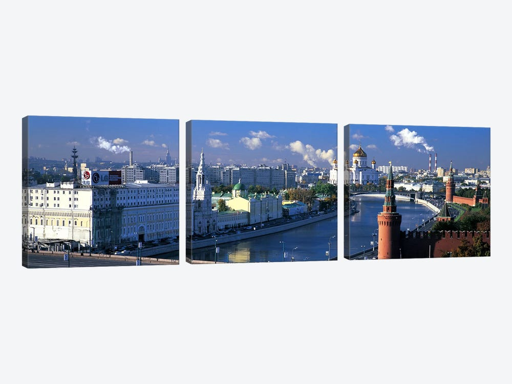 Buildings at the waterfront, Moskva River, Moscow, Russia by Panoramic Images 3-piece Canvas Print