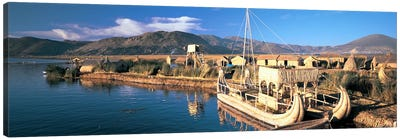 Reed Boats at the lakeside, Lake Titicaca, Floating Island, Peru Canvas Art Print