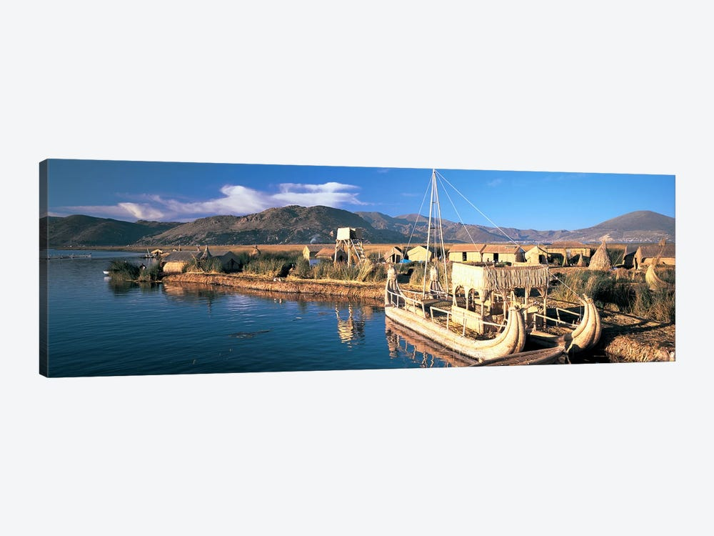 Reed Boats at the lakeside, Lake Titicaca, Floating Island, Peru by Panoramic Images 1-piece Canvas Art
