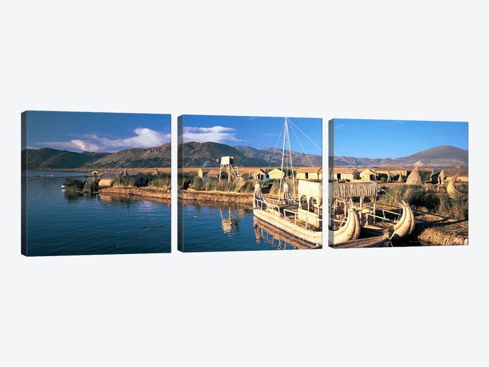 Reed Boats at the lakeside, Lake Titicaca, Floating Island, Peru by Panoramic Images 3-piece Canvas Artwork