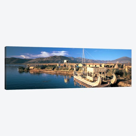 Reed Boats at the lakeside, Lake Titicaca, Floating Island, Peru Canvas Print #PIM6785} by Panoramic Images Canvas Artwork