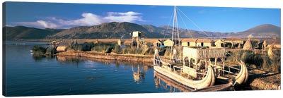 Reed Boats at the lakeside, Lake Titicaca, Floating Island, Peru Canvas Art Print