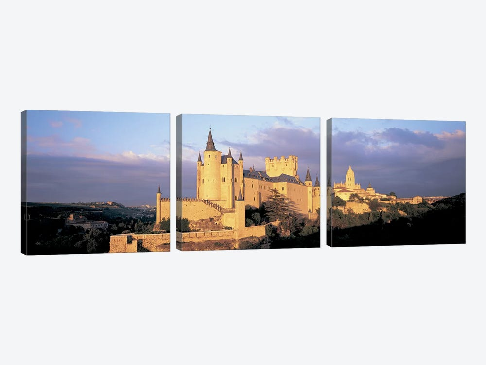 Clouds over a castle, Alcazar Castle, Old Castile, Segovia, Madrid Province, Spain by Panoramic Images 3-piece Canvas Artwork