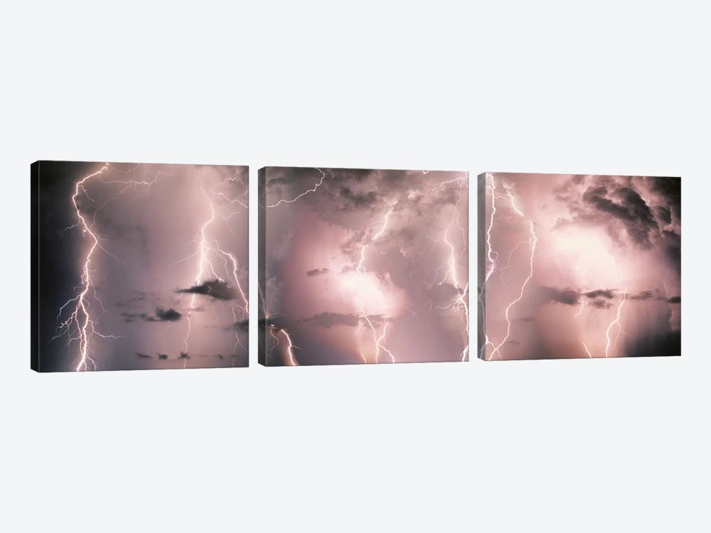Lightning Storm In A Purple Sky by Panoramic Images 3-piece Canvas Print