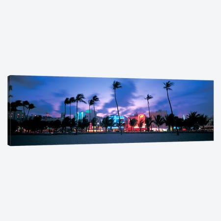 Buildings lit up at dusk, Miami, Florida, USA Canvas Print #PIM6794} by Panoramic Images Art Print