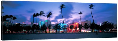 Buildings lit up at dusk, Miami, Florida, USA Canvas Art Print