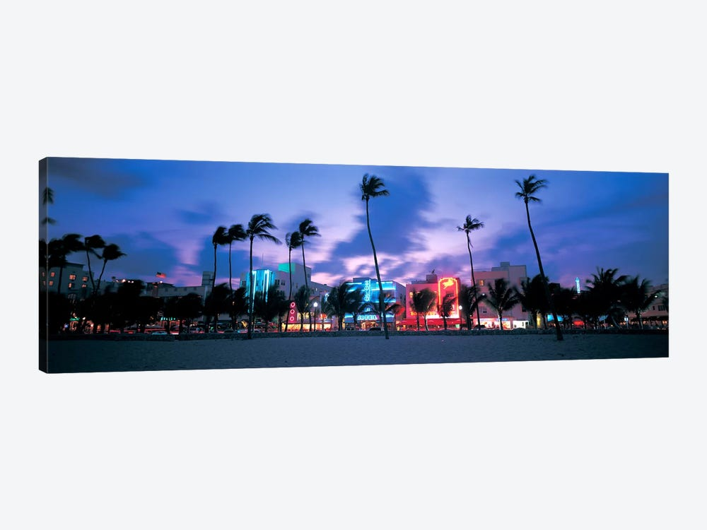 Buildings lit up at dusk, Miami, Florida, USA 1-piece Canvas Wall Art
