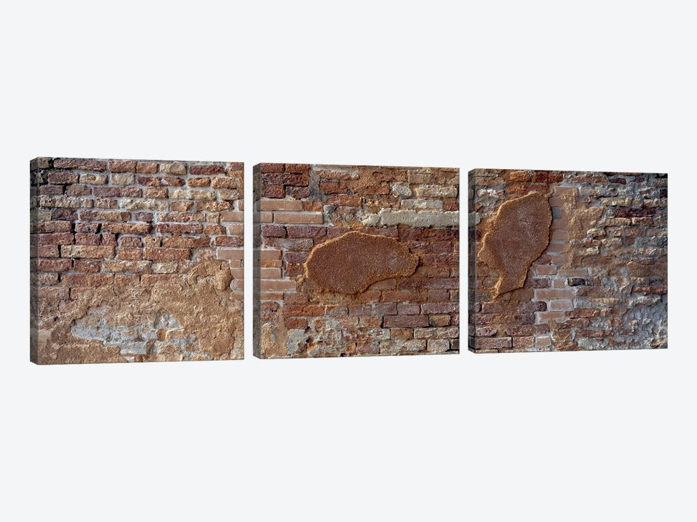 Close-Up Of A Brick Wall, Venice, Italy by Panoramic Images 3-piece Canvas Art Print