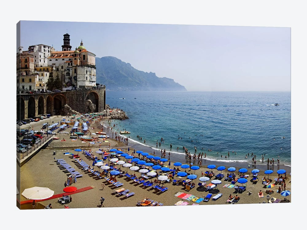 Coastal Beach Landscape, Atrani, Amalfi Coast, Salerno Province, Campania, Italy by Panoramic Images 1-piece Canvas Artwork