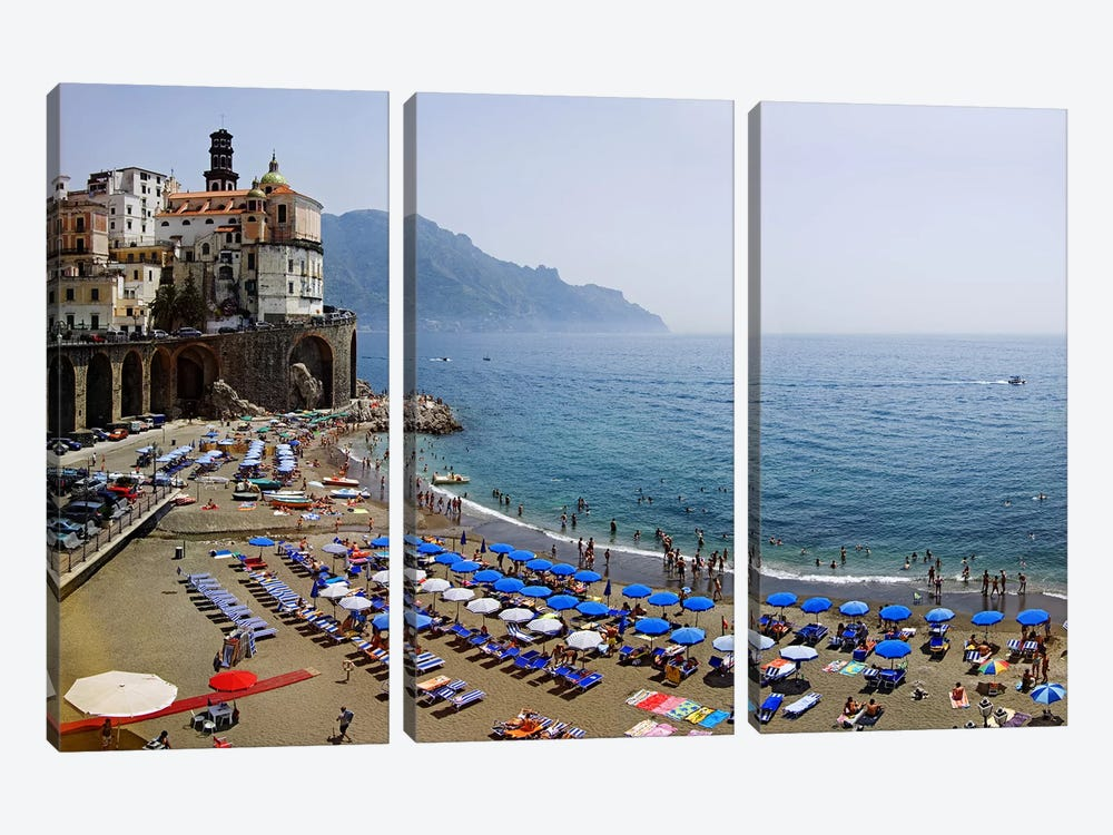 Coastal Beach Landscape, Atrani, Amalfi Coast, Salerno Province, Campania, Italy by Panoramic Images 3-piece Canvas Artwork