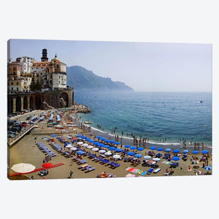 Coastal Beach Landscape, Atrani, Amalfi Coast, Salerno Province, Campania, Italy Canvas Print #PIM6803} by Panoramic Images Canvas Art