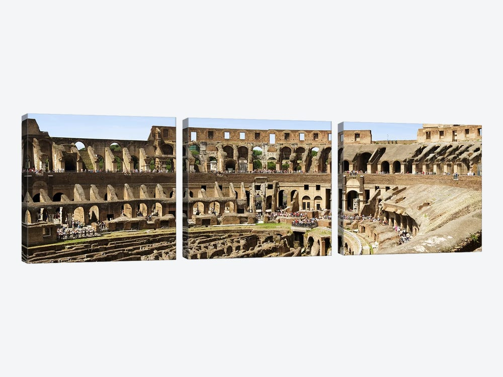 Interiors of an amphitheater, Coliseum, Rome, Lazio, Italy by Panoramic Images 3-piece Art Print
