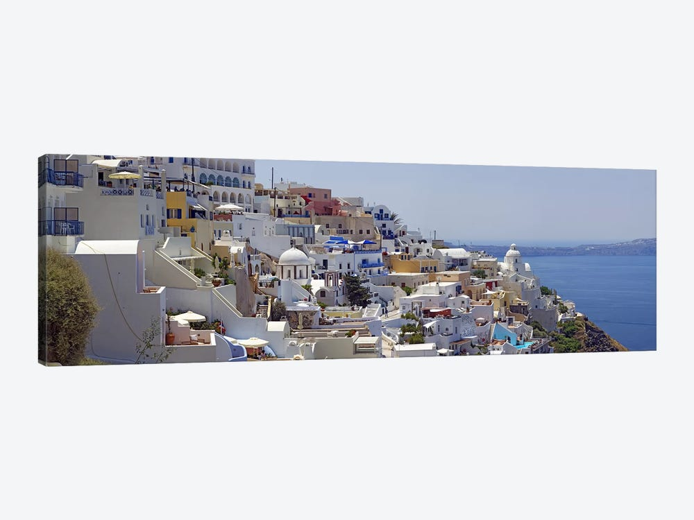 White-Washed Mediterranean Architecture, Fira, Santorini, Cyclades, Greece by Panoramic Images 1-piece Canvas Art