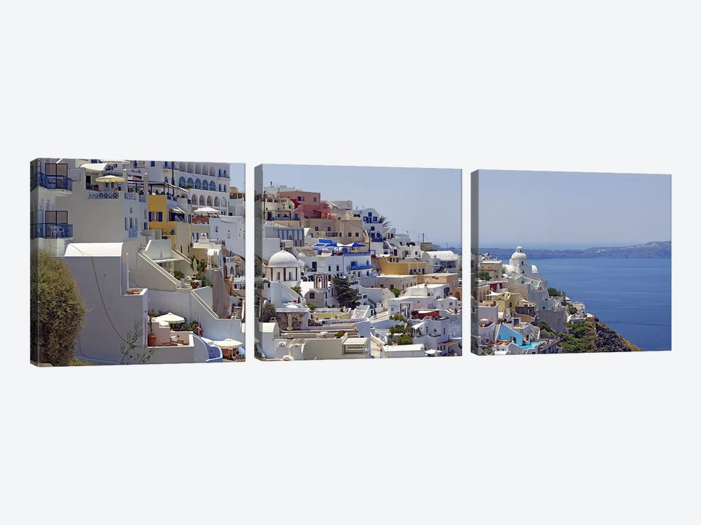 White-Washed Mediterranean Architecture, Fira, Santorini, Cyclades, Greece by Panoramic Images 3-piece Canvas Artwork